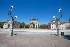 Arco della Pace, Arch of Peace, near Sempione Park in city center of Milan, Italy. Europe Royalty Free Stock Photos