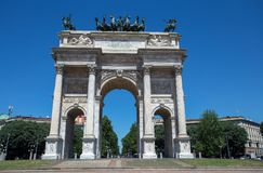 Arco della Pace, Arch of Peace, near Sempione Park in city center of Milan, Italy. Europe Royalty Free Stock Photo