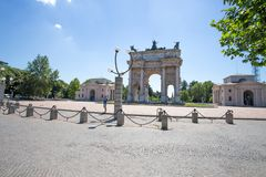 Arco della Pace, Arch of Peace, near Sempione Park in city center of Milan, Italy. Europe Royalty Free Stock Image