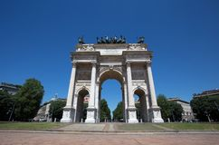 Arco della Pace, Arch of Peace, near Sempione Park in city center of Milan, Italy. Europe Royalty Free Stock Photography