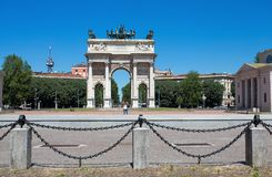 Arco della Pace, Arch of Peace, near Sempione Park in city center of Milan, Italy. Europe Stock Photo