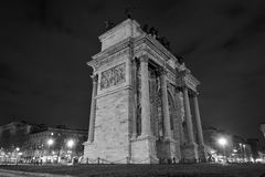 Arch of peace in black and white in the night. Italian monument from Milan named Arco della Pace view from the side at 45° angle in the night royalty free stock images