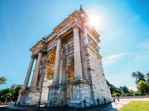 Arco della Pace known as Arch of Peace in Milan, Italy, built as part of Foro Bonaparte to celebrate Napoleon`s royalty free stock photo