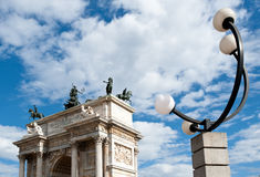 Arco della Pace, Milan. Arco della Pace and street lamp. Milan, Italy Royalty Free Stock Images