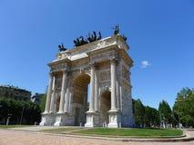 Arco Della Pace, Milan, Italy. Frontal facade view of Arco della Pace, Milan, Lombardy, Italy, Europe Royalty Free Stock Photography