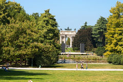 Arco della Pace - Parco Sempione Milano Italy. MILAN, LOMBARDY, ITALY - SEPTEMBER 24, 2016: Arco della Pace Arch of Peace 1814 in the Parco Sempione Sempione Stock Photography