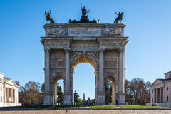 Arco della Pace (Porta Sempione) Sunrise in Milan Italy Travelin. G Sightseeing Destination Winter 2016 Blue Sky Outdoors Beautiful Monument Architecture Stock Images