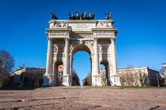 Arco della Pace (Porta Sempione) Sunrise in Milan Italy Travelin. G Sightseeing Destination Winter 2016 Blue Sky Outdoors Beautiful Monument Architecture Royalty Free Stock Image