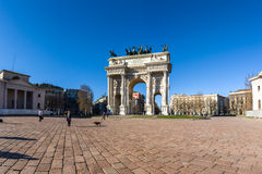 Arco della Pace (Porta Sempione) Sunrise in Milan Italy Travelin. G Sightseeing Destination Winter 2016 Blue Sky Outdoors Beautiful Monument Architecture Stock Image