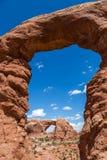 Arco della torretta in archi sosta nazionale, Utah, S Immagine Stock Libera da Diritti