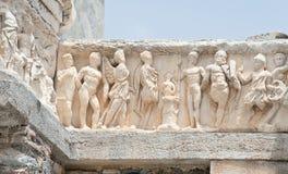 Arco dettagliato del tempio di Hadrian, Ephesus, Turchia Immagine Stock