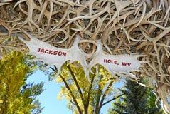 Arco di Antler degli alci, Jackson Hole Wyoming fotografia stock