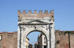 Arco Di Augusto πύλη Rimini πετρών Στοκ φωτογραφία με δικαίωμα ελεύθερης χρήσης