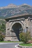 Arco di Augusto. Arco Romano - Roman triumphal arch in the northern Italian town of Aosta Stock Image