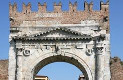Arco di Augusto stone gate detail Rimini. Italy Stock Image