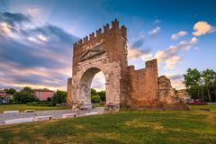 Arco di Augustus a Rimini fotografia stock