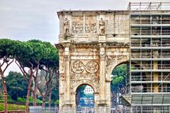 Arco di Constantino, Arch of Constantine in Rome, Italy. With a scaffold Stock Photos