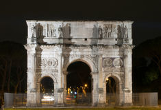 Arco di Constantino in Rome, Italy. Night view of Arco di Constantino in Rome, Italy Royalty Free Stock Photos