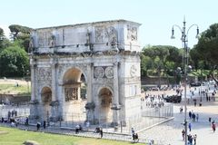 Arco di Costantino. Tourists walking around Arco di Costantino - Constantin´s Arch in Rome, Italy Stock Photos