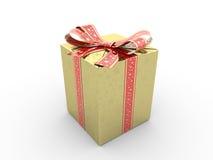 Arco di immaginazione del contenitore di regalo dell'oro Illustrazione di Stock