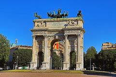 Arco di pace in bello Milan Italy HDR Fotografia Stock Libera da Diritti