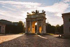 Arco di pace nel parco di Sempione, Milano, Lombardia, Italia Passo aka Porta Sempione di della di Arco a Milano, Italia Fotografia Stock Libera da Diritti