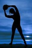 Arco di pallavolo della donna della siluetta lasciato Fotografia Stock