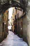Arco di pietra per limitare alleyway Fotografia Stock