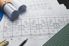 Arco di progettazione di schizzo di progetto della carta di modello del diagramma di ingegneria Fotografia Stock Libera da Diritti