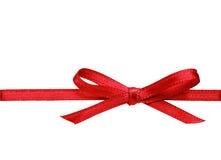 Arco di seta rosso del nastro Immagini Stock Libere da Diritti