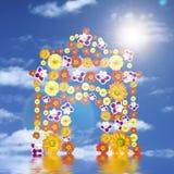Arco di trionfo dai fiori con la riflessione ed il sole Fotografia Stock