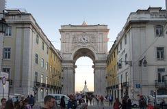 Arco a Dinamarca Rua Augusta - Rua Augusta Arch é uma pedra, construção arcada, histórica triunfal em Lisboa, Portugal foto de stock royalty free