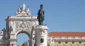 Arco a Dinamarca Rua Augusta em Praca faz Comercio imagens de stock