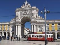 Arco a Dinamarca Rua Augusta em Praca faz Comercio fotografia de stock royalty free