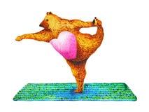 Arco diritto che tira yoga di posa: Dandayamana Dhanurasana, pittura dell'acquerello Immagine Stock