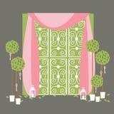 Arco do casamento com árvores em pasta e lanternas ilustração stock