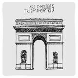 Arco do Triunfo, acrh tirado mão do vetor em Paris, França ilustração stock