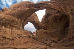 Arco doble, arcos parque nacional, Moab Utah Imagen de archivo libre de regalías