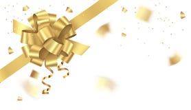 Arco dorato decorativo sull'angolo dei coriandoli dell'oro e della pagina isolati su fondo bianco Illustrazione di vettore fotografie stock libere da diritti