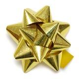 Arco dorato del regalo fotografia stock
