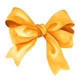 Arco dorato del regalo Illustrazione dell'acquerello Immagine Stock Libera da Diritti