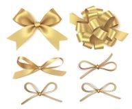 Arco dorato differente isolato su fondo bianco Insieme delle decorazioni di festa del nuovo anno Illustrazione di vettore fotografie stock libere da diritti