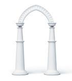 Arco e colunas no fundo branco 3d rendem os cilindros de image Fotografia de Stock Royalty Free