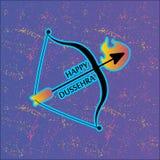 Arco e freccia in fiamme Cartolina per la festa in India Dussehra felice Immagini Stock