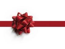 Arco e nastro rossi del regalo Immagine Stock Libera da Diritti