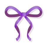 Arco fino púrpura aislado en blanco Cinta de lujo ilustración del vector