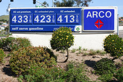 Arco gas station sign with prices Royalty Free Stock Images