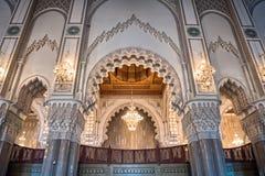 Arco interior Casablanca Marruecos de la mezquita de Hassan II Foto de archivo libre de regalías