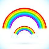 Arco iris aislados brillantes del vector con las nubes Fotos de archivo