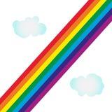Arco iris colorido en fondo vacío con las nubes stock de ilustración